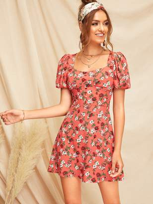 Romwe Puff Sleeve Floral Dress