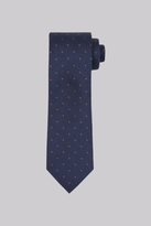 Moss Bros Navy & Rust Spot Silk & Wool Blend Tie