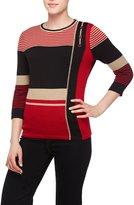 Alia Petite Stripe Sweater with Buttons