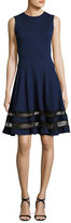 Jason Wu Sleeveless Ponte Lace-Trim Dress, Blue