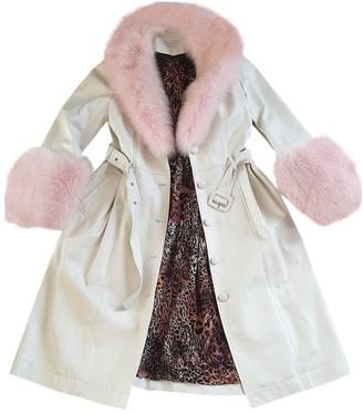 Saks Potts White Leather Coat for Women