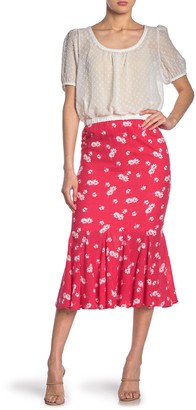 Know One Cares Floral Print Flounce Hem Midi Skirt