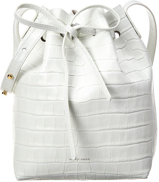 Mansur Gavriel Mini Croc-Embossed Leather Bucket Bag