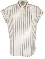 Brunello Cucinelli Cotton Shirt Striped Poplin Shirt With Shiny Tulle Insert