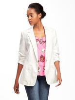 Old Navy Long-Line Linen-Blend Blazer for Women