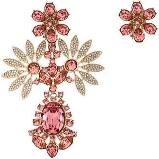 Burberry Double Daisy Crystal Gold Tone Clip-on Asymmetric Stud Drop Earrings