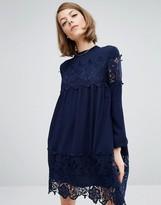 Fashion Union Smock Dress With Lace Inserts