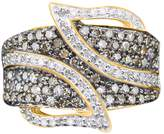AFFY White & Brown Natural Diamond Leaf Band Ring In 10K Gold (1 Cttw) Ring Size-6.5