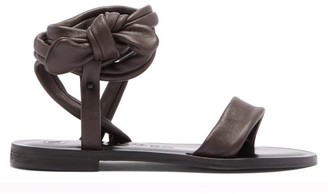 Álvaro González Aroa Wraparound Leather Sandals - Dark Brown