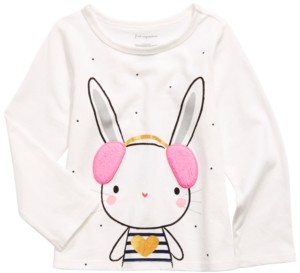 First Impressions Baby Girls Bunny-Print T-Shirt With Faux-Sherpa Trim, Created for Macy's