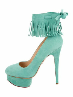 Charlotte Olympia Suede Fringe Trim Accent Pumps Green