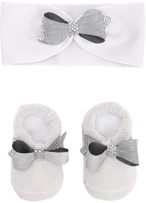 La Perla Knit Headband & Socks W/ Bows