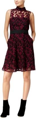 Rachel Roy Women's Sheer Lace Mock Neck Dress