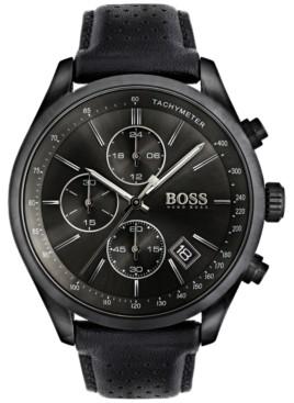 BOSS Hugo Men's Chronograph Grand Prix Black Leather Strap Watch 44mm 1513474