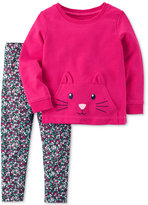 Carter's 2-Pc. Cat Face Cotton Top and Leggings Set, Toddler Girls (2T-4T)