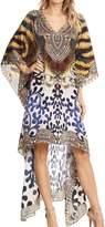 Sakkas P23 - HiLowKaftan Zeke Hi Low V-Neck Caftan Dress Boxy Printed Top Cover / Up - 1721-OS