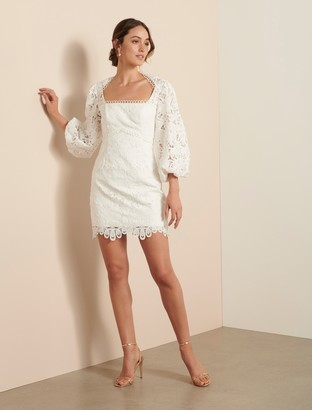 Forever New Zoe Balloon Sleeve Dress - Porcelain - 10