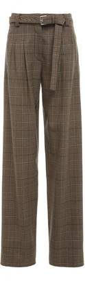 Proenza Schouler Belted Checked Wool-Blend Straight-Leg Pants