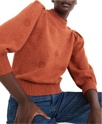 Madewell Eaton Dotted Puff Sleeve Cotton & Merino Yarn Pullover Sweater