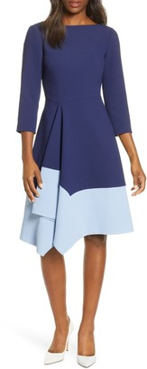Harper Rose Colorblock Asymmetrical Hem Fit & Flare Crepe Dress
