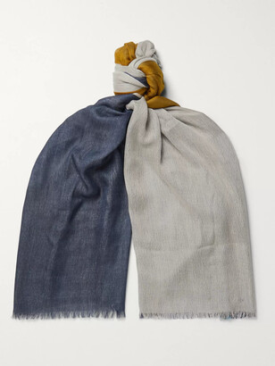 Loro Piana Fringed Colour-Block Cashmere and Silk-Blend Scarf - Men - Gray