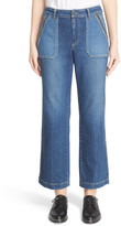 Rebecca Taylor &Patchwork& Wide Leg Ankle Jeans