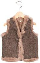 Marie Chantal Girls' Rabbit-Lined Wool Vest