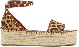 Valentino Garavani - Rockstud Leopard-print Flatform Espadrille Sandals - Womens - Tan Multi