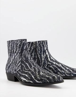 ASOS DESIGN cuban heel western chelsea boots in zebra print glitter