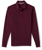 Classic Men's Long Sleeve Solid Mesh Polo Shirt-Dark Forest