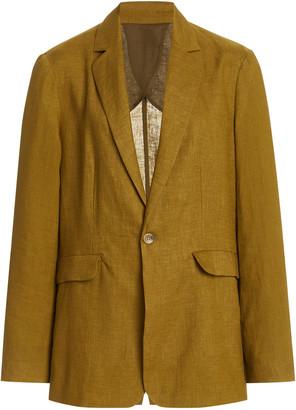 ASCENO The Azores Oversized Linen Blazer