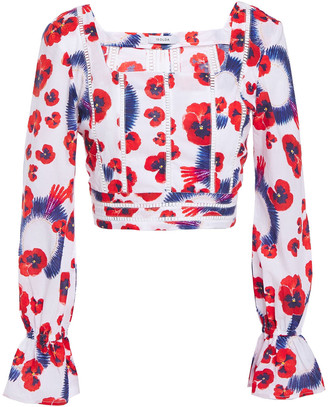 Isolda Cropped Floral-print Cotton Top