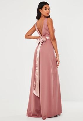 Missguided Blush Sleeveless Low Back Bow Maxi Dress