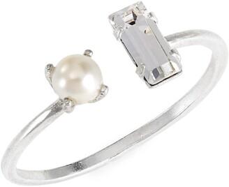 Bing Bang Open Imitation Pearl & Crystal Ring