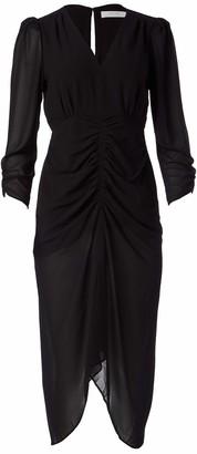 ASTR the Label Women's V-Neck 3/4 Sleeve Ruched Margot Midi Dress