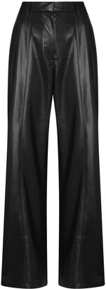Nanushka Wide-Leg Faux-Leather Trousers