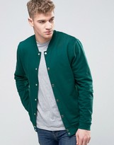 Asos Jersey Bomber Jacket With Snaps