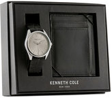 Kenneth Cole New York Men's Black Leather Strap Watch & Wallet Set 42x48mm 10031396