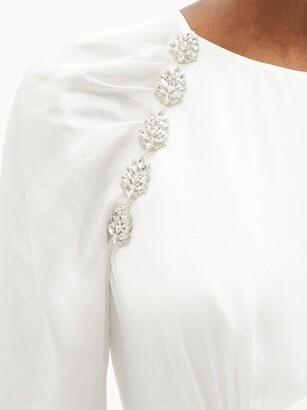 Self-Portrait Crystal-embellished Satin Dress - White