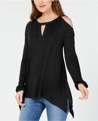 INC International Concepts Inc Studded Cold-Shoulder Handkerchief Top