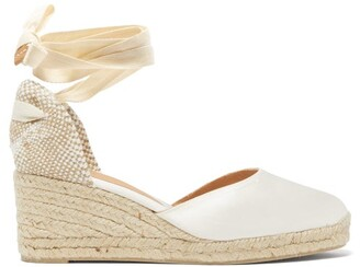 Castaner Carina 60 Satin And Jute Espadrille Wedges - Womens - White