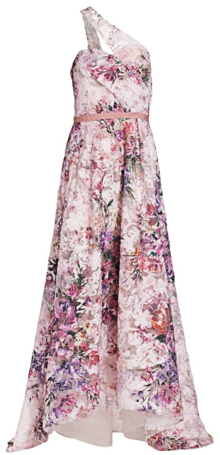 Marchesa Floral Asymmetrical High-Low Gown