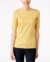Charter Club Floral-Print Elbow-Sleeve Top, Only at Macy's