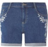 Dorothy Perkins Womens Blue Tropical Embroidered Denim Shorts- Blue
