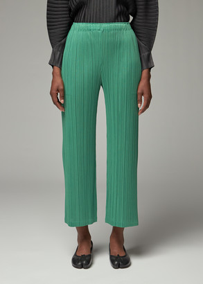 Pleats Please Issey Miyake Women's Straight Leg Pant in Green Size 4 100% Polyester