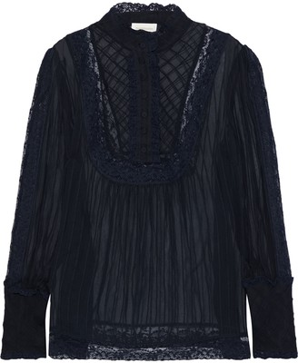 Zimmermann Unbridled Tucked Lace-trimmed Silk-chiffon Blouse