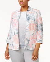Alfred Dunner Plus Size Rose Hill Collection Open-Front Floral-Print Jacket