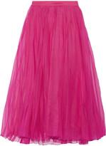 Gucci Pleated Silk-blend Organza Midi Skirt - Fuchsia