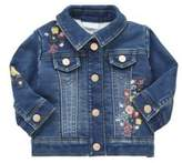 F&F Flower Embroidered Fleece Lined Denim Jacket