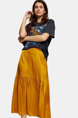 Topshop Womens Plain Ochre Tiered Satin Skirt - Ochre